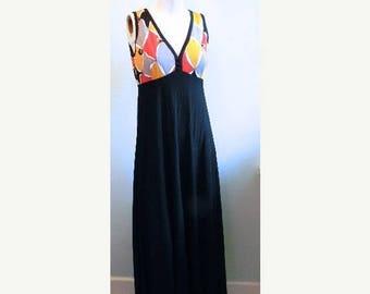 SUMMER SALE vintage.  60s MOD Black Maxi Dress // M L