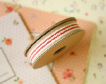 Beige and Red Stripe ribbon