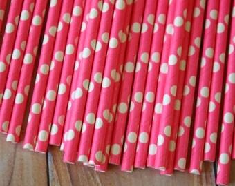 Solid Hot Pink Big Dots paper straws