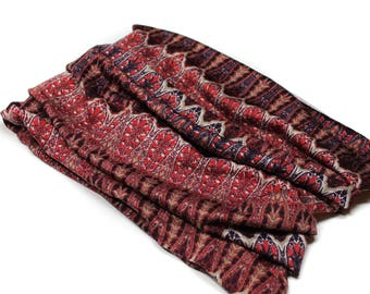 Dark Red Boho Head Hugger, Red Print Bandeau Headband, Headwrap Bandeau, Extra Wide Headband (#1609) S M L X