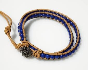 Wrap Beaded Bracelet, Friendship Bracelet, Leather Bracelet, Blue Beads Bracelet, Teen Bracelet, Everyday Bracelet, Blue and Beige Bracelet