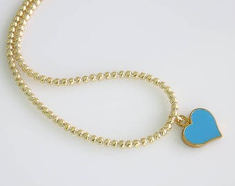 Blue Heart Necklace - Beaded Chain Necklace - Blue Heart Jewelry - Celebrity Inspired - Everyday Jewelry - Simple Heart Necklace