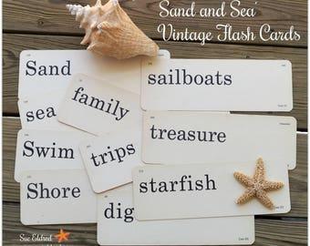 Sand and Sea Vintage Flash Cards 10 Card Set