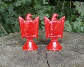 Two Red Eagle Game Pieces or Toys, Vintage Transogram Game Patriotic Figures Figurines or Craft Pieces 1960s Era