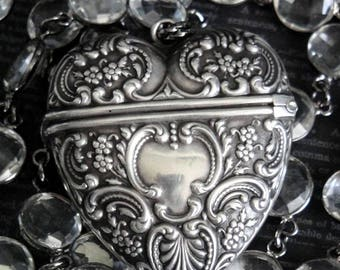 NEW! MAJESTY Foster & Bailey Repousse Heart Locket Assemblage Necklace. Antique Sterling Silver. Rock Crystal Coin Pools Of Light Chain