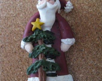 Resin Santa Claus brooch pin with Christmas tree