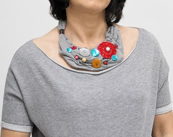 Necklace, chunky bold necklace, fabric jewelry, fashion jewelry, simple jewelry, women accessories, summer fashion, colorful