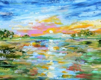 Glory in the Sky palette knife oil paint impressionism and mixed media on canvas art by Karen Tarlton