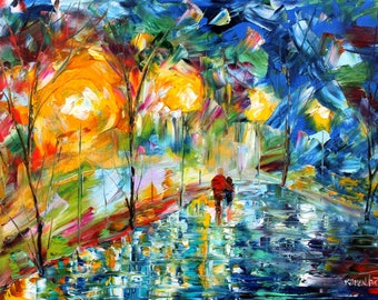 Night Romance abstract painting original oil on canvas palette knife 12x16 impressionism fine art by Karen Tarlton