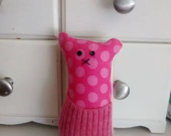 Pocket critter, FREE U.S. shipping,  pink, dots, cashmere, wool, recycled,  tooth fairy pillow, animal pillow, kids pillow