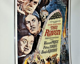 Original 1963 The RAVEN Framed Movie Poster Price Lorre Karloff 27x41 Inches