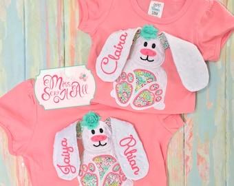 3D Floppy Ear Bunny Shirt, Easter Shirt, Bunny Shirt, Girls Easter Bunny Shirt, Girls Easter Shirt, Custom Easter Shirt, Floral Bunny Shirt