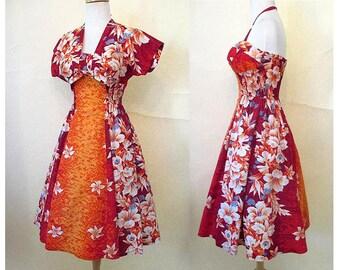 "Killer 1950's Hawaiian Two Piece Sundress by ""Kamehameha"" shelf bust vintage Tiki dress pinup Girl Rockabilly Size X Small"