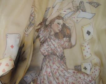 silk shawl Alice and the playing cards