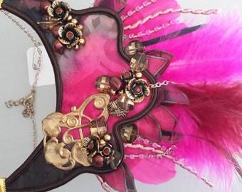 Silk pink Brown bib necklace