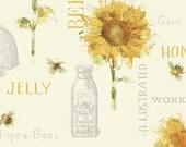 SALE Bee My Sunshine Cream Collage - Sunflower Fabric - Windham Fabrics 43314-3 - 1 Yard Cut BTY - Bees Sunfowers