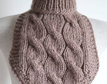 Light Taupe Color Unisex Knitted Cables Cowl Gaiter Collar Turtleneck Dickey