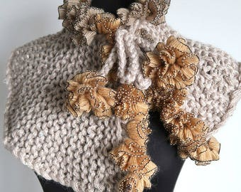 Soft Beige Color Knitted Capelet Collar Ruffled Cowl with Flower Pom Pom Ties