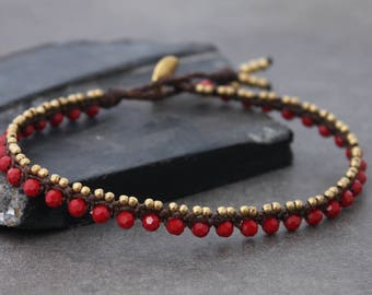 Beaded Anklets Red Crystal Woven Macrame Brass Lace