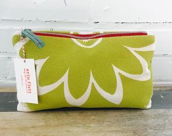 Green Sunflower Make Up zipper bag, Ready To Ship Now