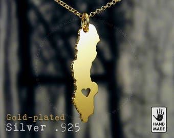 SWEDEN Map Handmade Personalized Goldplated Sterling Silver .925 Necklace in a gift box
