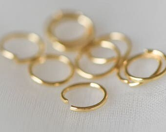 100pcs Gold plated Brass Open Jump Rings 6mm Round (0.7mm / 21 Gauge), Lead Nickel Free (#GB-102)