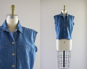 ON SALE boxy chambray / denim top / s