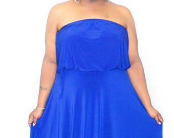Royal Blue Maxi Dress 2 piece