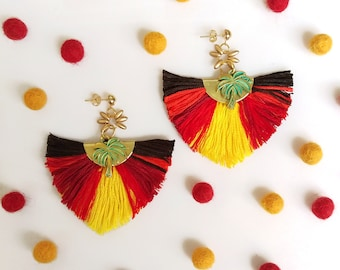 Tropical Tassel Earrings, Palm Tree Earrings, Summer Statement Earrings, Red Tassel Earrings, Sunset Earrings Bohemian