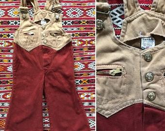 Vintage 70s toddler bellbottom overalls / 2 tone brushed cotton / vintage kids bellbottoms / size 2T