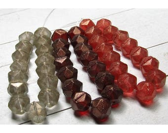Czech Glass Beads 10mm Matte Faceted Nuggets Dusted w/ Golden Highlights Rounds - 15 Pieces