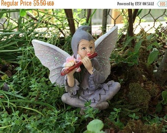 SALE Fairy Figurine, Sitting Fairy Playing Flute, Glittered Wings, Fairy Garden Figurine, Miniature Home and Garden Decor, Crafts, Topper