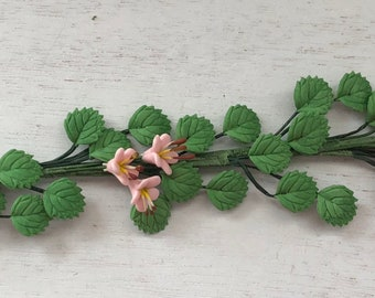Miniature Pink Flower Vine, Leaf and Flower Stem, Pick, Dollhouse Miniature, 1:12 Scale, Accessory, Mini Home & Garden Decor, Crafts