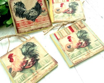 Roosters~ Small Wood Signs with twine for hanging (4)