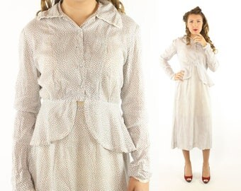 Vintage 40s Skirt Blouse Set Long Sleeve Top Dress Suit White Atomic Print 1940s Large L Red Black Polka Dot
