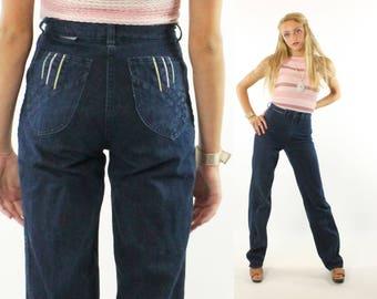 Vintage 80s High Waisted Jeans Dark Blue Denim Straight Leg 1980s XS Disco Hippie Boho Hipster Viscount