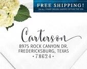 Custom Address Stamp, Self Inking Return Address Stamp, Rustic Wedding address, Calligraphy Address, Self Inking Stamp  - Carterson