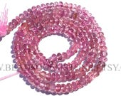 Natural Pink Tourmaline Beads In Rondelle Faceted Shape Quality AA, 3.50 to 4.50, TOUR-011, Semiprecious Gemstone Beads, Craft Supplies