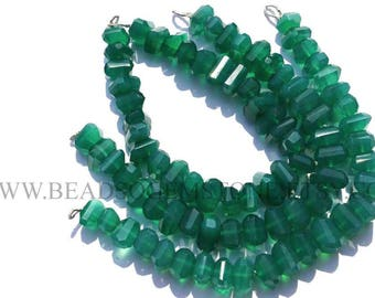AA Quality Green Onyx Beads In Nuggets Beads Faceted, (8 to 12), GR-011, Semiprecious Gemstone Beads, Craft Supplies For Jewelry Making