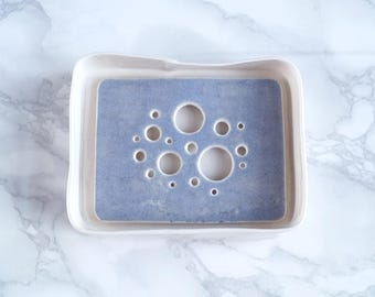 Ceramic soap dish and tray set, BUBBLE holes design, blue grey and white glazes, porcelain soap dish, bathroom accessory, counter top