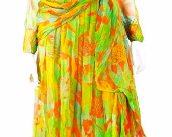 James Galanos Vintage 70s Silk Tropical Fish Print Gown, Size Small