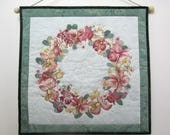 "Quilted Wallhanging ""Orchid Wreath"" Mini Art Quilt, Floral Wall Hanging, Red and Pink Orchid Blossoms, Quiltsy Handmade"