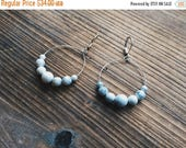 Summer Solstice Sale Howlite Gemstone Silver Mini Hoop Earrings White Gemstone Earth Gemstone Jewelry Handmade in Indiana By Rana Salame Jew