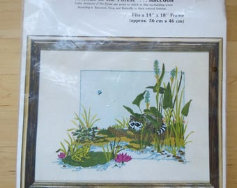 1970s Vintage Crewel Embroidery Kit by Paragon Stitchery - Friends in the Forest . . . Raccoon Wall Art