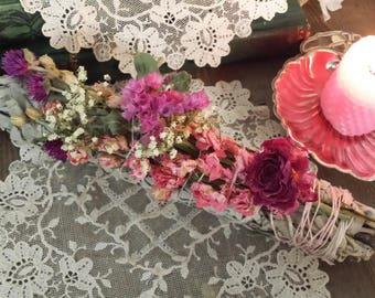 Yerba Santa  & White Sage Wild Flowers Smudging Bundle, Floral Smudging bundle