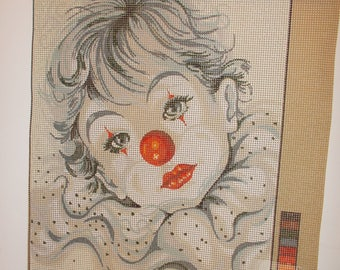 Clown Needlepoint Canvas Genuine Serigraphy Print 1117100