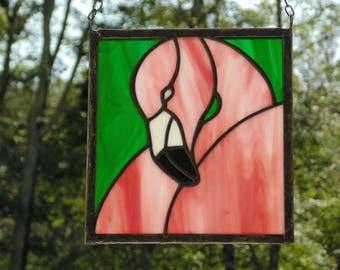 pink flamingo suncatcher stained glass panel glass art flamingo decoration coastal decoration - Pink Flamingo Bath Decor