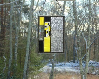 Stained glass panel, abstract art, black yellow, small stained glass panel suncatcher, ooak, unique window decoration, art glass panel