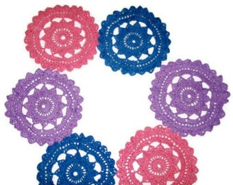Crochet Cotton Doilies Or Coasters Set Of 6 Pink Blue & Lilac Round Doilies