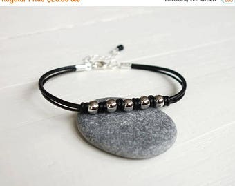 Summer Sale Black leather bracelet five metal beads black knotted bracelet leather cord bracelet for men for women